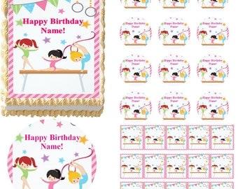 Gymnastics Tumbling Edible Cake Topper Image, Gymnast Girls Cake, Gymnast Girls Cupcakes, Gymnastics Party Supplies, Tumbling Girls Cake