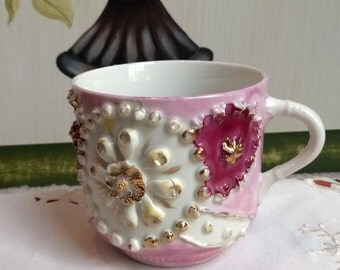 Vintage Hand-Painted Pink Decorative Shaving Cup