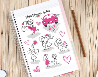 Cute Wedding Stick Figures Planner Stickers (S-064)