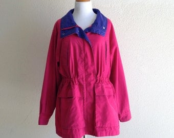 90s Pink and Purple Raincoat Size - 1990s Pacific Trail Raincoat - Medium Large