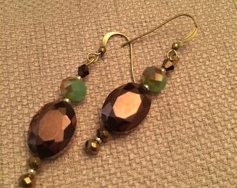 Bronze Faceted Crystal Earrings #54