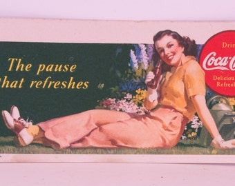 "1941 Coca-Cola Ink Blotter ""The Pause That Refreshes"""