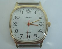 Wristwatch Russian Soviet USSR rare old CHAIKA Quartz Military prize army collectible wrist watch with special engraved monograph compliment