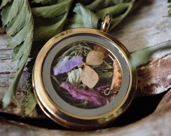 Dried Flower Locket Pendant