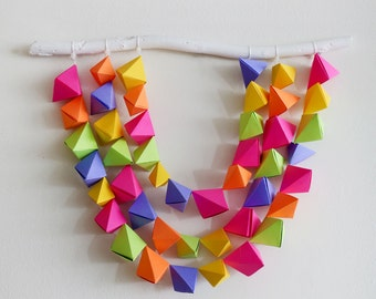 Geometric Origami Baby Mobile or Wall Hanging (Neon) Great for Valentine's Day