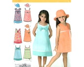 Girls Dress Pattern Simplicity 3859 Sleeveless Sundress & Hat Summer Empire Dress Girl Sewing Pattern Size 3 to 8 UNCUT