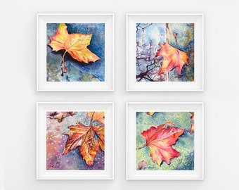 Set of 4 Watercolor Leaf Prints, 5x5 each, of Original 4 Little Leaves Fine Art Paintings, Home Decor, Wall Art, Gift Ideas