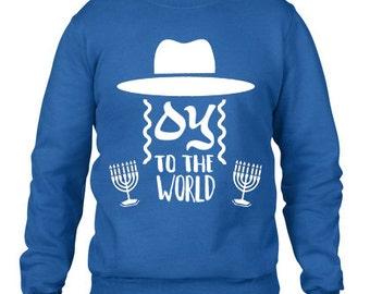 Hanukkah, Hanukkah Sweatshirt, Ugly Sweater Contest, Joy to the World, Jewish Hanukkah Sweatshirt