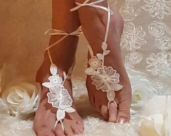 Wedding barefoot Sandals,Beach Sandals,Poolside Sandals,Wedding night sandals,Lace Anklets,Lace Barefoot Sandals,Destination Weddings,Yoga