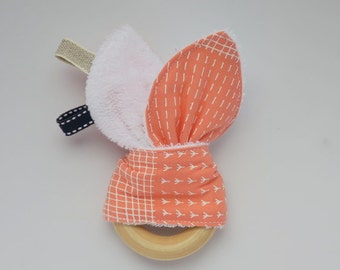 Bunny ear teething ring, wooden teething ring, baby teether, soother, crinkle toy, ribbon teether, bunny ear baby teething toy