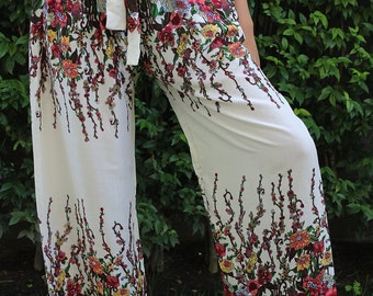 Wide Leg Palazzo Pants Boho Clothing Gypsy Flowers Design in White