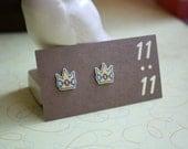 Princess Earrings, Princess Crown, Princess Jewelry, Yellow Crown Earrings, Princess Jewels Jewelry, Tiara Jewelry, Video Game
