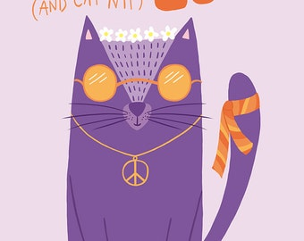 Miss Hippie Cat - Peace and Love Card