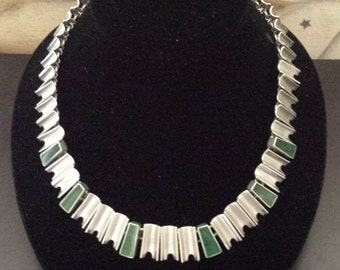 """Vintage Sterling Malachite Necklace Mexico Taco 17"""" Long"""