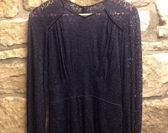 original 1940s inky blue lace frock