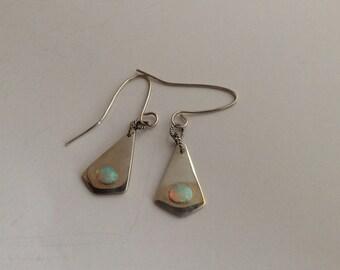 Sterling Silver Teardrop Earrings - Dangle Earrings With Opals - Birthday Gift - Free Shipping