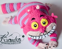 Crochet PATTERN - Cheshire cat pattern by Krawka, Alice in Wonderland, Lewis Carroll, crazy, pink, mad hatter, rabbit hole, Disney,