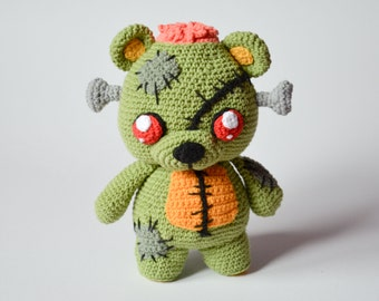 Crochet PATTERN - Frankie the zombie teddy bear by Krawka, Frankenstein's monster, zombies, Halloween, creepy cute crochet