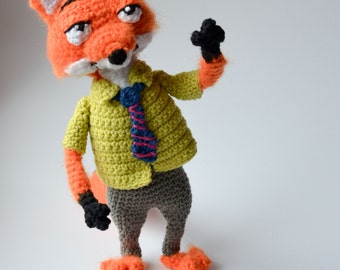 Crochet PATTERN - Nick  the red fox by Krawka
