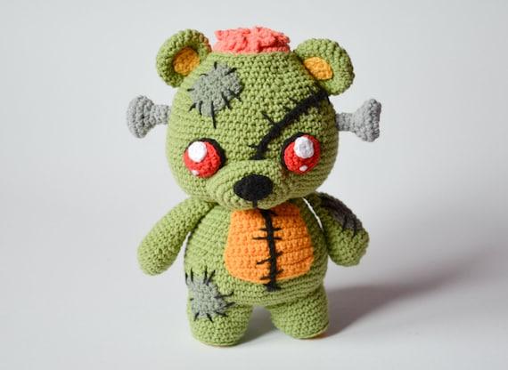 Zombie Knitting Bowl : Crochet pattern frankie the zombie teddy bear by krawka