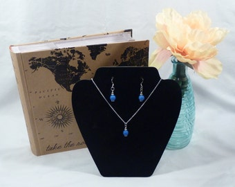Blue Pearl Charm Pendant Necklace Set on a Silver Chain, Necklace and Earrings