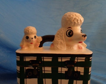 Vintage Enesco Bank ~ Poodle Momma and Puppy on Suitcase ~ Poodle Bank ~ Retro Japan Poodle Puppies ~ 1950s ~ Adorable ~ Kitsch