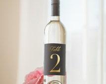 Wedding Table Number Wine Bottle Labels