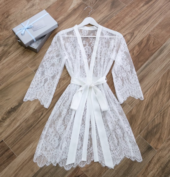 Bridal Robe To Get Ready In: Lace Bridal Robe/ Getting Ready Robe/ Dressing Gown/ By