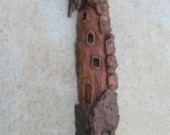 Cottonwood Bark Whimsical House Woodcarving