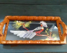 Wood Serving Tray with Handles and Bird with Real Feathers; Hand Painted Tray; Hand Carved Wood Tray; Wood Tray; Vintage Serving Tray
