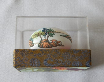 Vintage Asian Hand Painted Egg under Glass