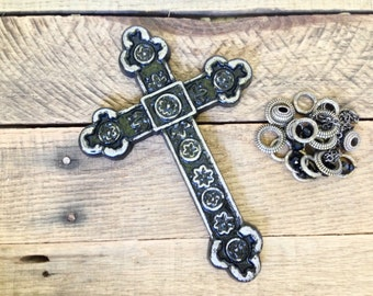 Ornate Wall Cross - Black/ or Pick Color - Cast Iron Cross - Decorative Crosses - Cross Wall Decor - Christian Decor - Religious Wall Art