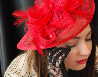 Red Fascinator, Tea Party Hat, Church Hat, Derby Hat, Fancy Hat, Red Hat, Tea Party Hat, wedding hat, Red Fascinator, womens hat