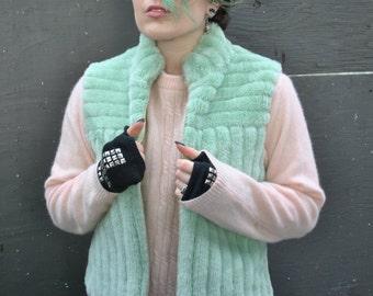 Mint Pastel Green Furry Vest // Fuzzy Vest // Alien Space // 90s Colored Faux Fur