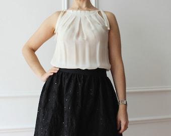 White silk blouse, chiffon top, summer top, white top, elegant top, evening top, pleated top, summer top, Italian top, silk top