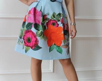 Floral dress, celeste dress, flowered dress, Italian fashion dress, dress, dress, dress, knee length dress, gift, woman