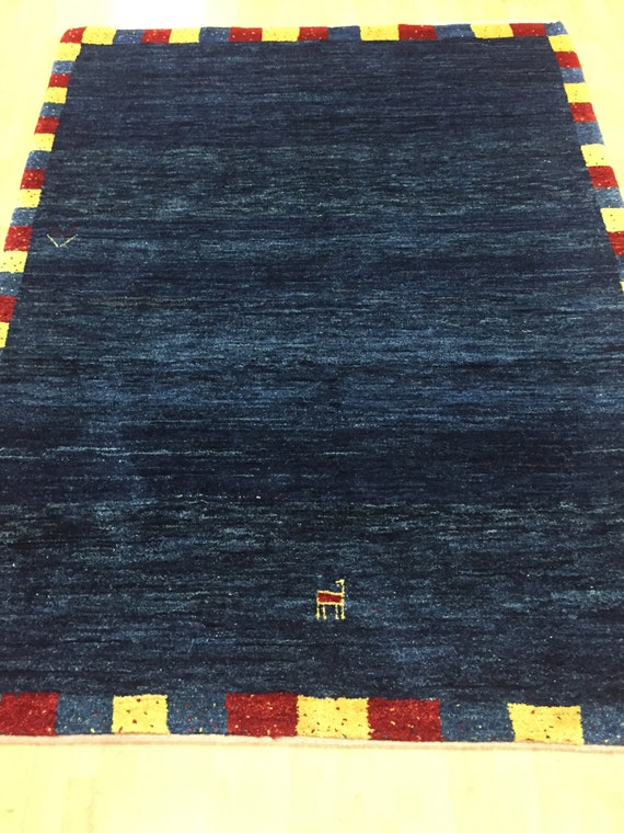 "4'10"" x 6'6"" Persian Gabbeh Oriental Rug - Hand Made - 100% Wool"