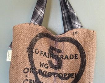 Upcycled Coffee Sack & Men's Shirt Tote Bag