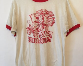 Vintage 80s Red and White Carson Building Supply T Shirt Size XLarge