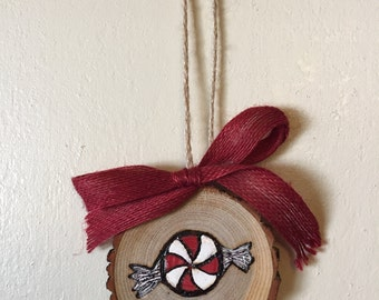 Wood Slice Ornament, Peppermint Ornament, Wood Burning, Hand Painted Ornament, Peppermint Gift Tag