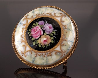 Antique Victorian French hand painted Rose Porcelain Brooch.Vintage pin. Paris.Floral.Gold Applique.Romantic Sentimental gift Girlfriend