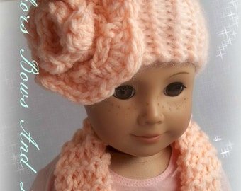 "doll matching head wrap and scarf/ peach head wrap and scarf/ 18"" doll accessories/ doll head wrap and scarf"