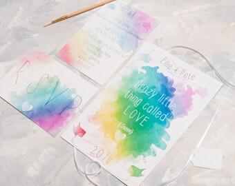Watercolour Lyric Wedding Invitation - Invite Suite sample