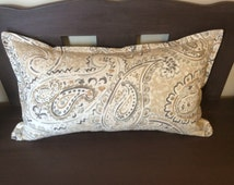 """Grey Tan Ivory Paisley Rectangle Decorative Pillow Cover with Small Flange 13"""" x 22"""""""
