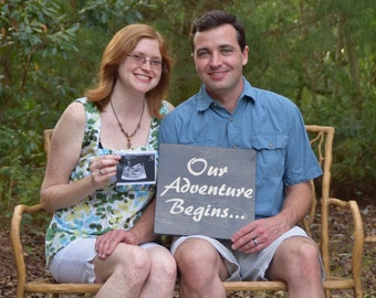 """Pregnancy Announcement Sign Photo Prop. """"Our Adventure Begins"""". Solid Wood Hand painted Sign - Custom Made!!Tell the world Your Big News!!"""