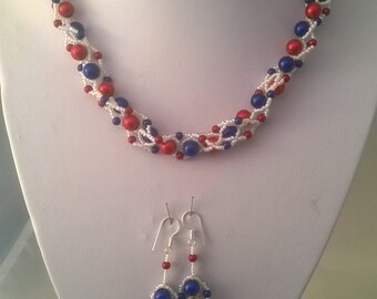Made to order, Red, White and Blue Necklace 4th July Hand Beaded Necklace Set, Bead weave Necklace, Patriotic Necklace,