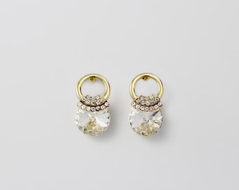 The Queen / Crystal drop Earrings/Gold Earrings/Bridesmaid Jewellery/Swarovski Crystal Earrings
