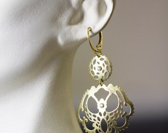 Bohemian Drop Earrings, Sterling Silver Boho drops, Gold Plated