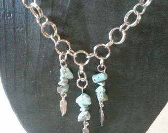 Turquoise and feather necklace