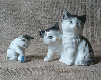Vintage Cat Figurines Gray and White Cat Figures Made In Japan